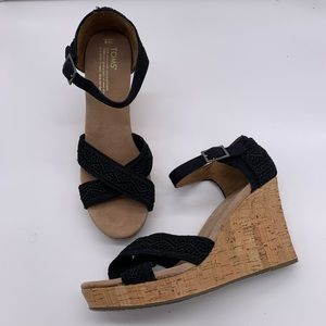 Toms lace peep toe, cork style wedge sandals EUC